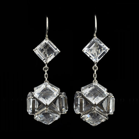 Late Art Deco Sterling Faceted Crystal Ball Earrings