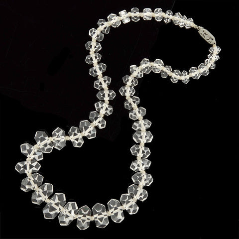 Art Deco Faceted Rock Quartz Crystal Bead Necklace 15""