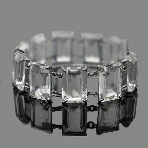 Art Deco Japanese Sterling & Faceted Crystal Link Bracelet