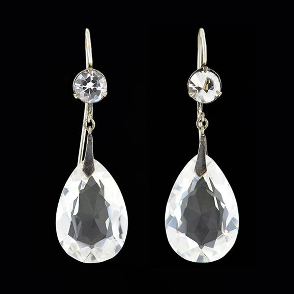 Late Art Deco Silver & Rock Quartz Crystal Teardrop Earrings