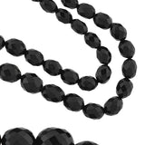 Victorian Long Faceted Jet Bead Necklace 33