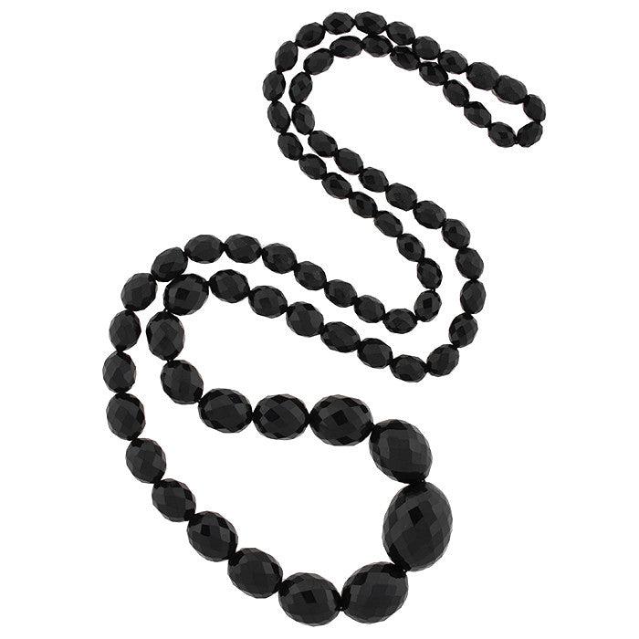 Victorian Long Faceted Jet Bead Necklace 33""