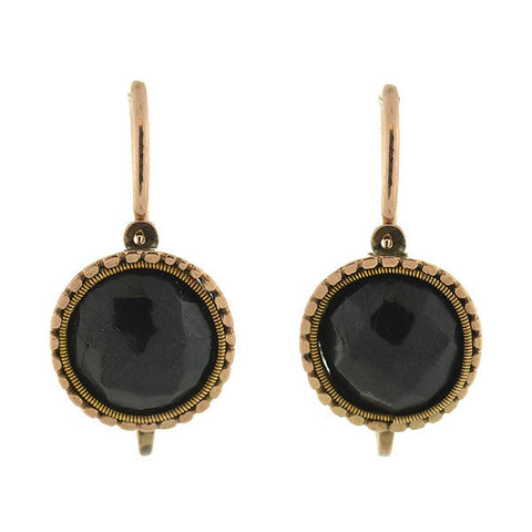 Victorian 14kt Gold & Jet Day & Night Earrings