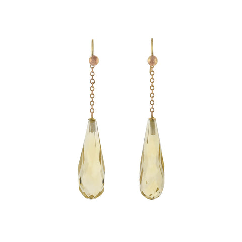 Art Deco 14kt Gold Faceted Citrine Teardrop Earrings