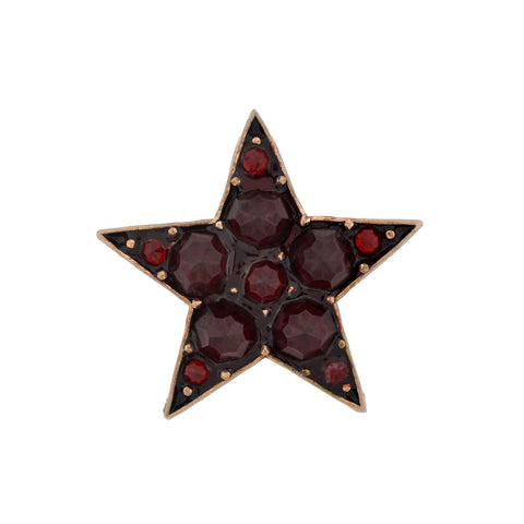 Victorian Gold-Filled Enameled Bohemian Garnet Star Pendant