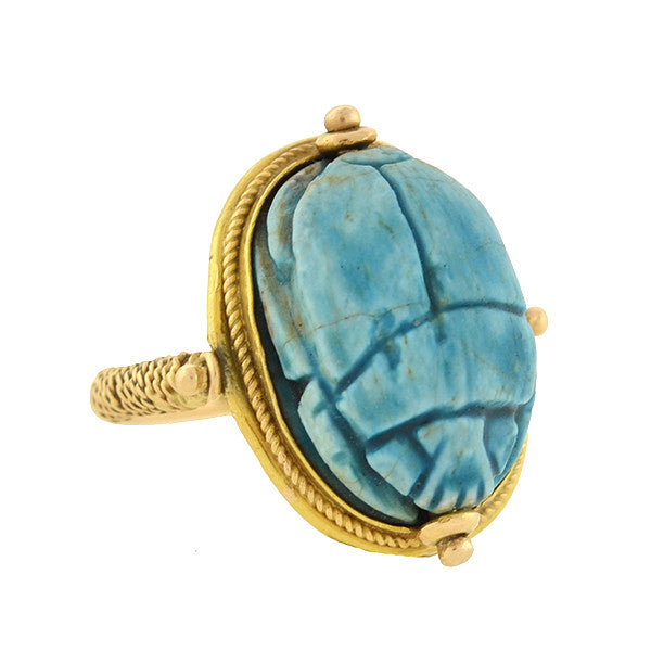 Vintage Egyptian Revival 18kt Faience Scarab Flip Ring
