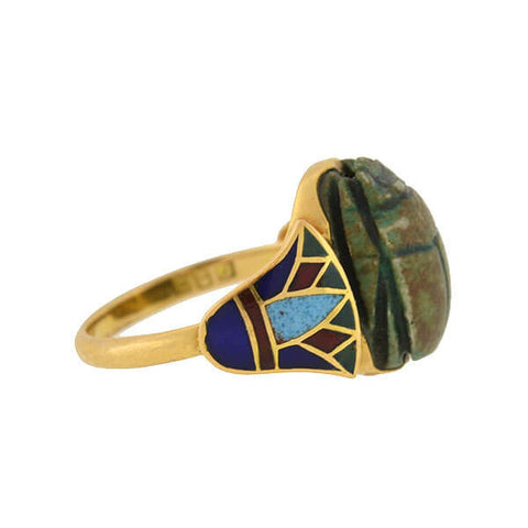 Art Deco 21kt Enamel Egyptian Faience Scarab Ring