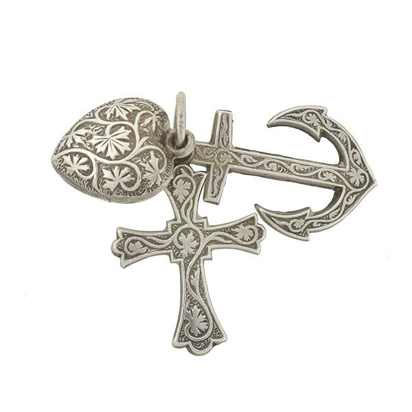 "Victorian Sterling Etched ""Faith, Hope & Charity"" Charm"