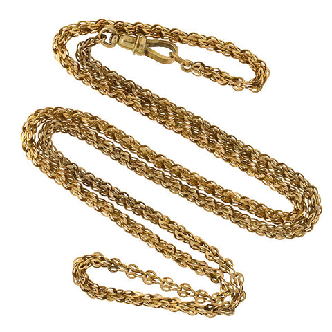 Victorian 14kt Fancy Link Chain with Watch Swivel Clasp 30""
