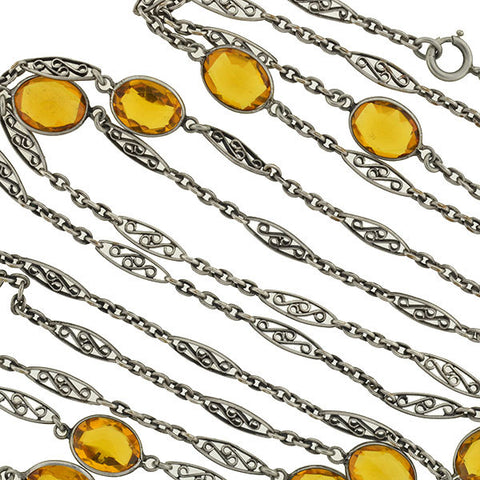 "Art Nouveau Long Sterling & ""Citrine"" Glass Filigree Muff Chain 36"""