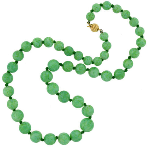 Art Deco 14kt & Faux Jade Bead Necklace
