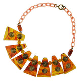 Retro Bakelite Panel Link Studded Necklace
