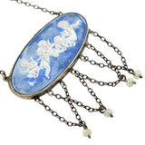 Late Victorian Sterling Seed Pearl Wedgewood Style Pendant