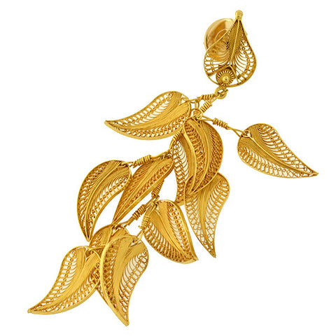 Estate 18kt Dangling Filigree Feather Cluster Earrings