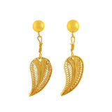Estate 18kt Filigree Feather Earrings
