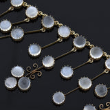 Arts & Crafts Silver Gilt Moonstone Trefoil Festoon Necklace