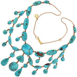Victorian 15kt Turquoise Festoon Necklace