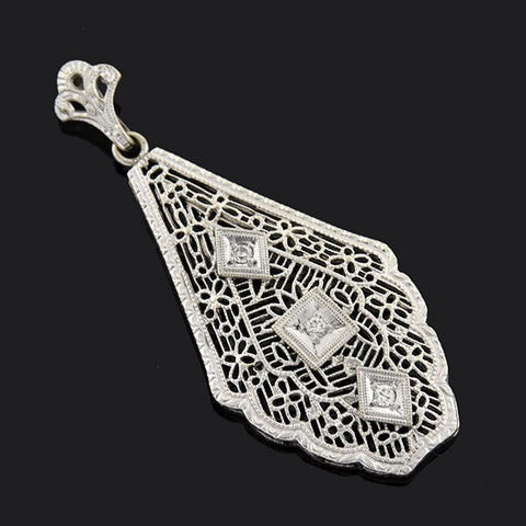 Art Deco 10kt Diamond Filigree Pendant