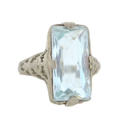 Art Deco 18kt Aquamarine Floral Filigree Ring