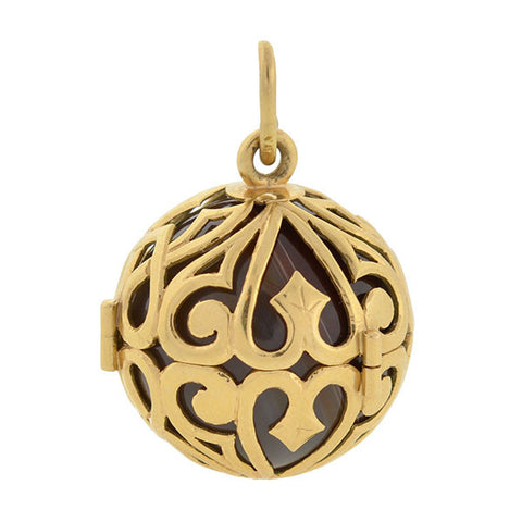Estate 18kt Banded Agate Caged Filigree Ball Pendant