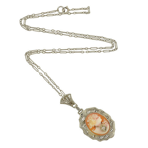 Art Deco 14kt Shell Cameo & Diamond Filigree Necklace