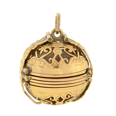 Victorian 18kt Filigree Foldable 6-Photo Ball Locket/Pendant