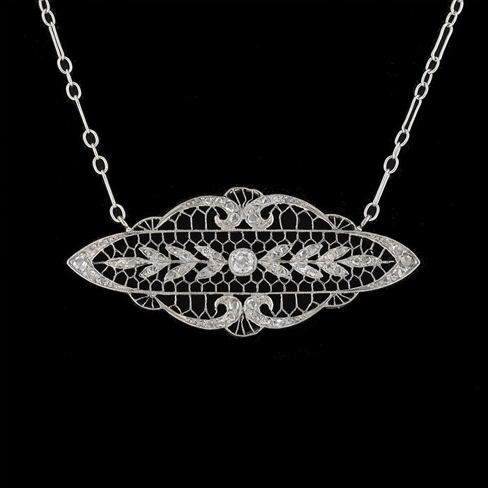 Edwardian Platinum & 14kt Diamond Filigree Necklace