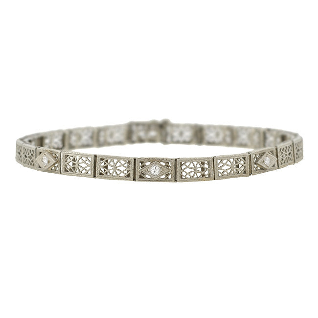 Art Deco 10kt Diamond Filigree Line Bracelet