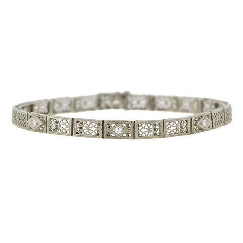 Art Deco Platinum & 14kt Rock Crystal & Diamond Bracelet