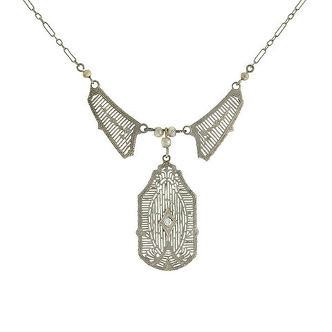 Art Deco 14kt Seed Pearl Diamond Filigree Necklace