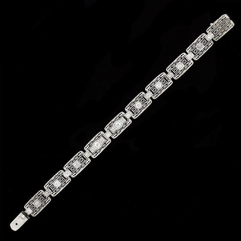 Art Deco 14kt & Mine Cut Diamonds Filigree Link Bracelet 1ctw