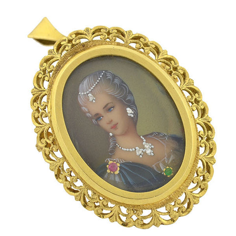 Victorian 18kt Painted Portrait Gemstone Pin/Pendant
