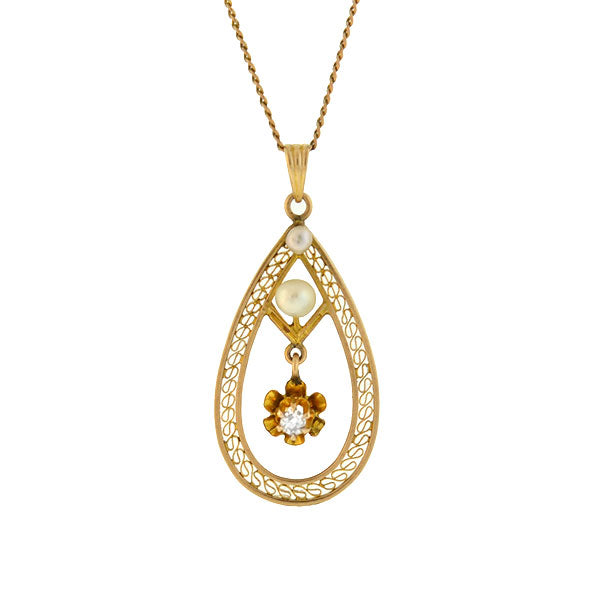 Late Victorian 10kt Pearl & Diamond Filigree Pendant Necklace