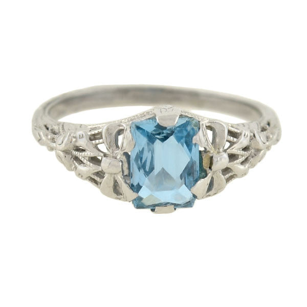 Art Deco 18kt Aquamarine Filigree Bow Ring 1.25ct