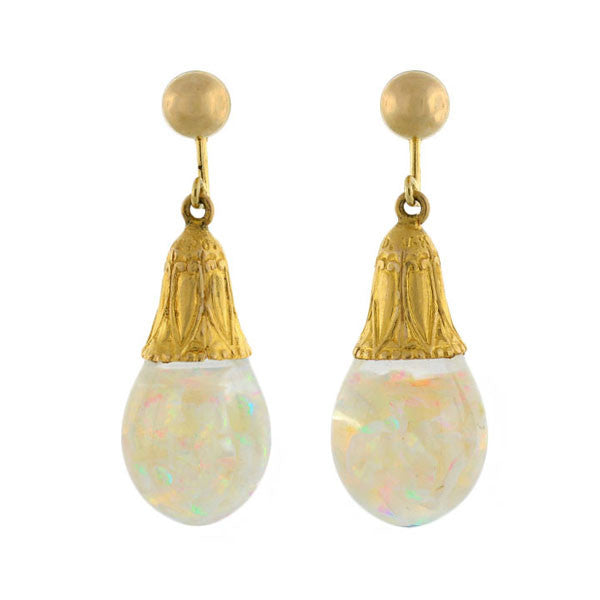 Retro 14kt Floating Opal Bulb Earrings