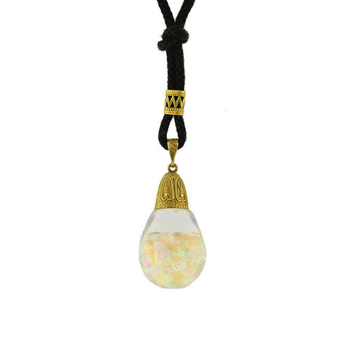 Retro 14kt Floating Opal Ball Necklace