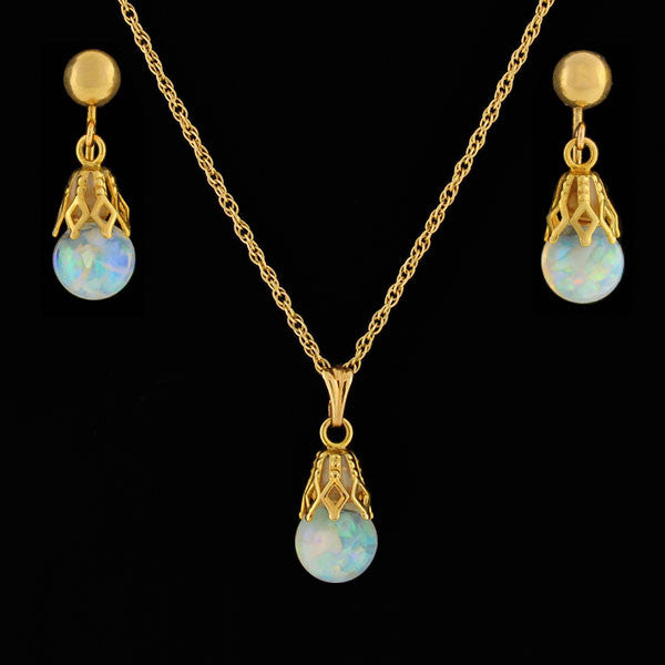 "Vintage 14kt ""Floating Opal"" Earring Necklace Set"