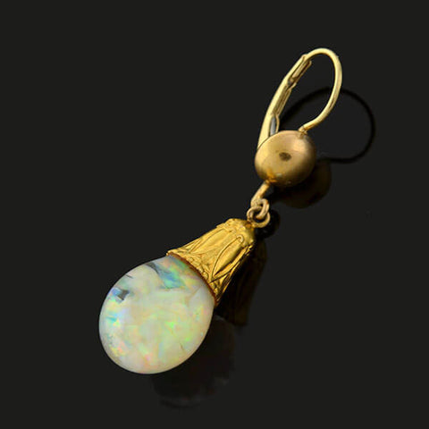 "HORACE WELCH Art Deco 14kt ""Floating Opal"" Earrings"