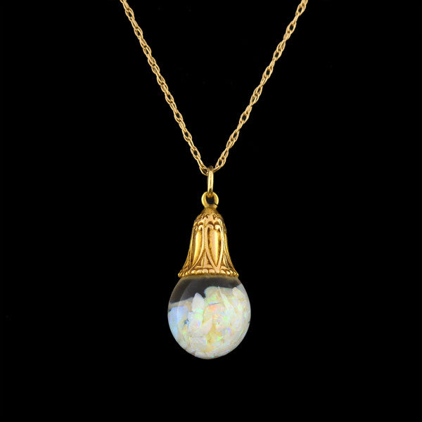 HORACE WELCH Art Deco 14kt Floating Opal Necklace