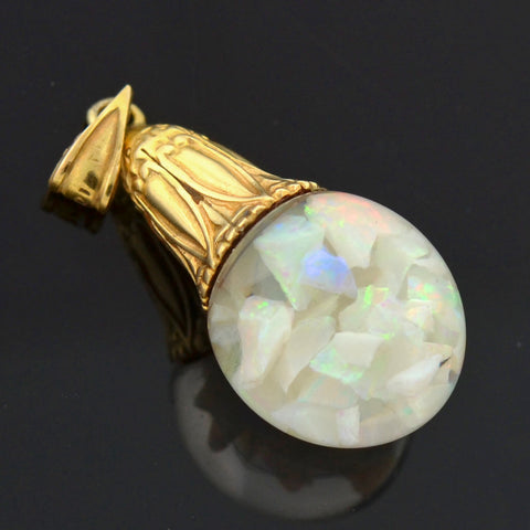 HORACE WELCH Late Art Deco 14kt Floating Opal Bulb Pendant