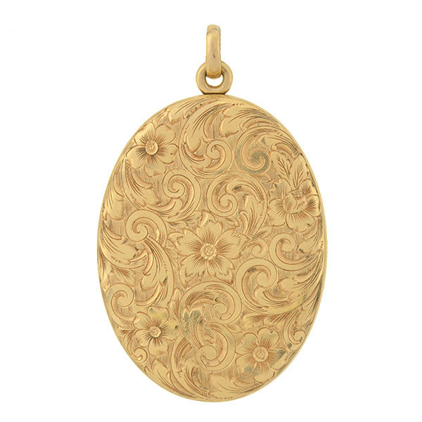 Victorian 14kt Oval Multi-Photo Etched Floral Locket