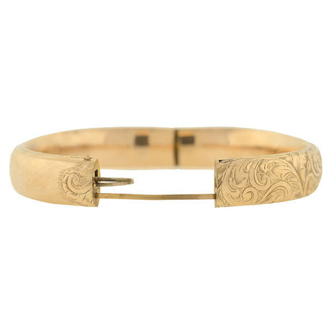 Victorian 10kt Etched Floral Motif Bangle Bracelet
