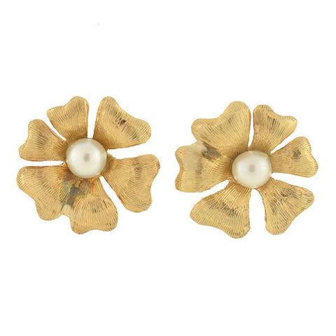 Estate 14kt Pearl Flower Stud Earrings