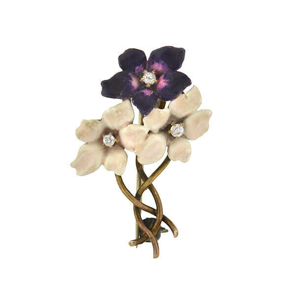 Art Nouveau 14kt Diamond & Enamel Flower Bouquet Pin
