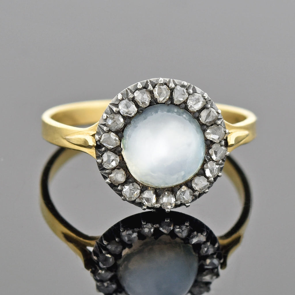Victorian 18kt/Sterling Moonstone + Rose Cut Diamond Cluster Ring