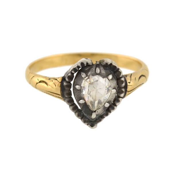 Georgian 14kt/Sterling Pear Rose Cut Diamond Heart Ring