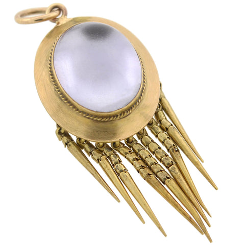 Victorian 14kt Foil Backed Rock Quartz Crystal Foxtail Locket/Pendant