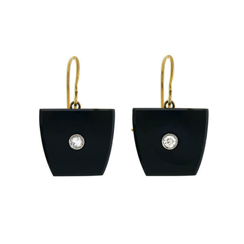 Art Deco 18kt Onyx Diamond Earrings