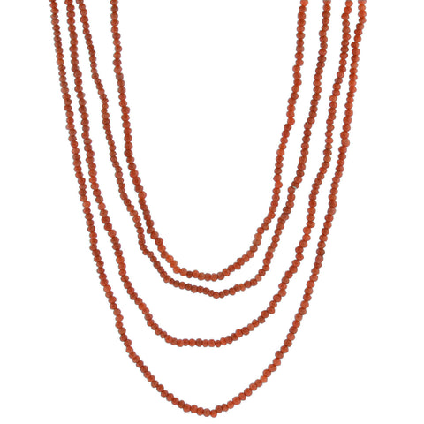 Victorian Sterling Natural Coral Four-Strand Bead Necklace 35.5""