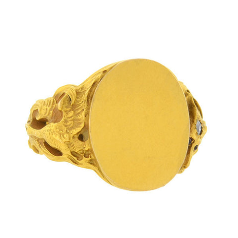 Art Nouveau 14kt Repousse Signet Ring with Fox & Bird Motif